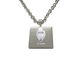 Silver Toned Etched Standing Owl Pendant Necklace