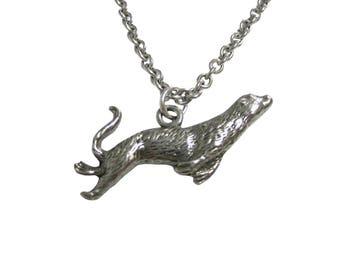Silver Toned Textured Sea Lion Pendant Necklace