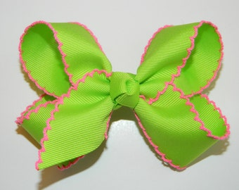 Lime & Hot Pink Large Moonstitch Hair Bow