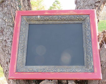 Large Red Magnetic Chalkboard with ornate detail