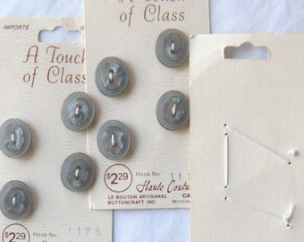 12 Small Fat Oval Grey-Silver Buttons, 15 X 13 mm, Raised Pearly Center, Double Rim, Sewn on Original Cards,2 Holes, Touch of Class Brand