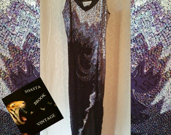 SALE. WAS 89. Sleeveless Sequin Cocktail Gown - Hollywood Glam Dress - Black Silver Grey Beads Sequins - Art Deco Gatsby Dress - Womens XS