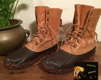60s Distressed LL BEAN Hunter Boots - Maine Hunting Shoe - Cursive Label - Lace-up Rubber Duck Boots - Fits Women 8 Men 6.5 EU 38.5