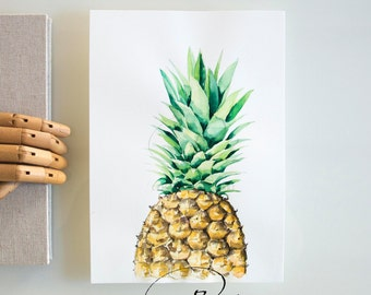 Original pineapple watercolor drawing- Modern kitchen wall art, pineapple illustration, kitchen decor, wall art, fruit illustration, drawing