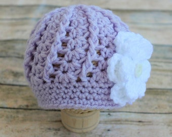Newborn Girl Baby Violet Purple Lilac Swirl Hat Cap Beanie with White Flower - Knitted Crochet  - Photo Prop - Baby Gift