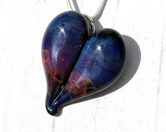 Heart Necklace Glass Jewelry, Flamework Pendant Lampwork Boro, Hand Blown Purple Blue Necklace