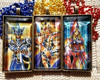 Yugioh Classics - Jack's Knight, King's Knight, Queen's Knight Glass Pendant Made from Vintage Trading Cards