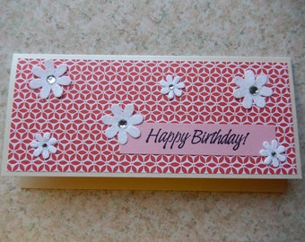 Birthday Cash/Check Gift Holder - pinks reds and flowers