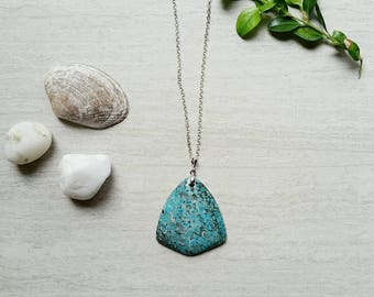 Turquoise Stone Pendant Long Layering Necklace Stone Jewelry (K)
