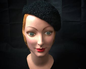 1920s or 30s faux astrakhan beret