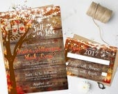 Rustic Fall Wedding Invitations Heart Carved Oak Tree Autumn Wedding Stationery Digital Printable Rustic Hanging Lights Mason Jar Lights DIY