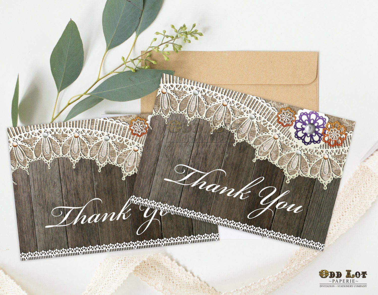 Thank You Card Printable Greeting Folded Rustic Lace In Fall Colors With Wood Plank Background