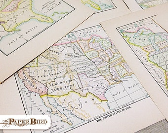 Vintage Map Collection | Maps of the USA | Vintage Ephemera | 15 pc Pack | Mixed Media Supply
