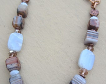 Agate, Copper and Crystal Necklace Handcrafted with Copper Chain