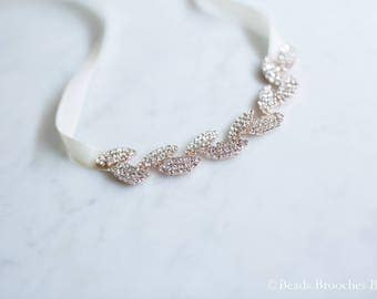Rose Gold Bracelet,Rose Gold Wedding Jewelry Bracelet,Wedding Bracelet,Bridesmaid Gift Bracelet,Rose Gold Leaf Bracelet,Rhinestone Bracelet