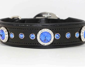 Luxury Dog Collar / Leather Dog Collar / Padded Dog Collar / Swarovski Crystal
