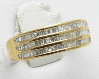 Vintage 10k gold 1.25 carat Diamond Baguette Band Ring Three Row Channel Set Estate