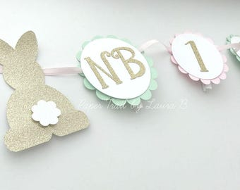 Bunny 1st Year Photo Banner in Pink, Mint and Gold.  Some Bunny is One!  First Birthday Decorations.  Spring Birthday Party Decor.