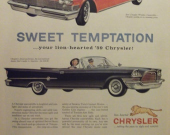 1959 CHRYSLER New Yorker Windsor Convertible  Antique Automobiles Vintage Cars Original Vintage Ads Additional Ads Ship FREE Ready To Frame