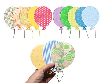 20 Blank Balloon Cards - Birthday Invitations - Cute Balloon Thank-You Cards - Grab Bag Colorful Thank You Notes - Cute Die-Cut Paper Cards