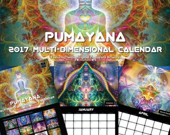 ON SALE !!! BARGAIN, The 2017 Pumayana Calendar - Visionary, Psychedelic Shamanic Spiritual Healing Dmt Ayahuasca Enthegenic Art