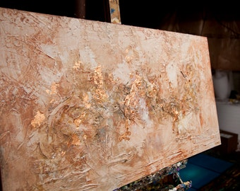 "Modern Copper abstract art textured painting Wall Decor 48""x24"" heavy textured abstract painting by Osnat"