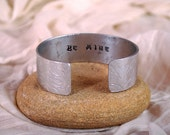 Handstamped 'Be mine' bracelet, Personalised 'Be mine' cuff, Aluminium cuff, Silver tone word bracelet, Embossed Bangle,