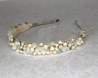 Bridal Headband- Blush Tiara- Boho Headband- Pearl Headband- Rose Gold Headband- Bridal Hairpiece- Wedding Hair Accessory- Pearl Hairpiece