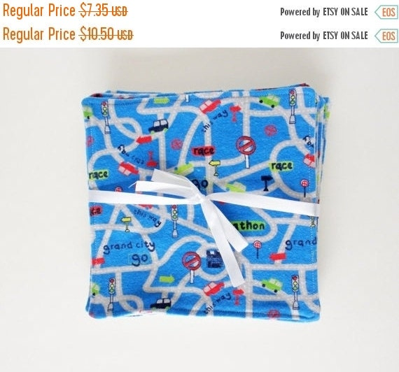 LAST CHANCE CLEARANCE Clearance Blue Roadway  Flannel Reusable Cloth Wipes, Set of 10