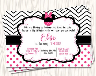 Custom Minnie Mouse - ANY AGE PInk Red Black Polka Dot Chevron Stripe Birthday Party Invitation - Any Color