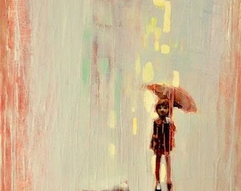Summer rain. 2016 Oil painting on rolled canvas.Rain Girl and Umbrella,Little dog