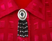 Concho Button Cover Antiqued Silver and Black Beaded Southwestern Rocker Cowgirl Jewelry