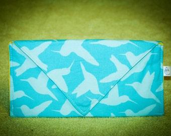 Blue Hummingbird Envelope Clutch
