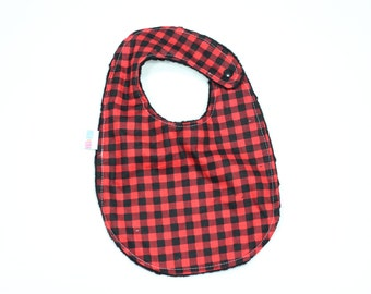Buffalo Plaid Bib, Red Plaid Bib, Lumberjack Bib, Toddler Bib, Modern Bib, Minky Bib, Augie and Lola Bib, Handmade Bib, Baby Shower Gift