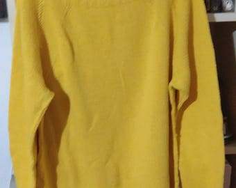 Summer sale Hand knitted yellow cotton jumper size 16 reduced