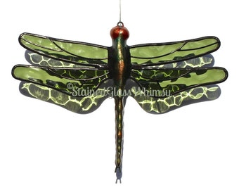 Stained Glass DRAGONFLY Suncatcher - Transparent, Forest  Green Wings, Textured - USA Handmade, Green Dragonfly, Olive Green Dragonfly