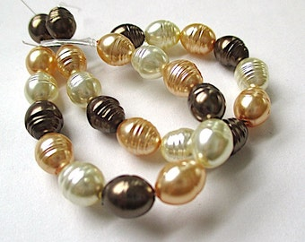Glass Pearls, 8mm Baroque Pearls, Mixed Color Bronze Brown, Ivory Cream, Gold Potato Pearls, Faux Pearls, Imitation Pearls - 26 Pieces SP770