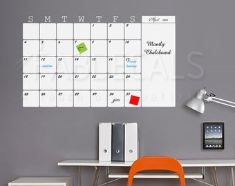 Whiteboard, 2017 Monthly Calendar, Vinyl Wall Decal, Dry Erase Calendar, Calendar Whiteboard, Wall Decals - ID408W [p]