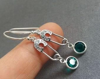 Safety Pin Earrings. Rhinestone Safety Pin Earrings. Birthstone Earrings. Silver Safety Pin. Safe Place Jewelry. Birthstone Jewelry