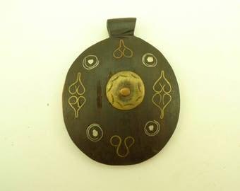 handmade inlaid ebony wood metal pendant trade bead Africa tribal unique AB-0135