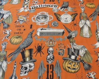 Trickery - Orange - Halloween - Alexander Henry Fabric 1 Yard