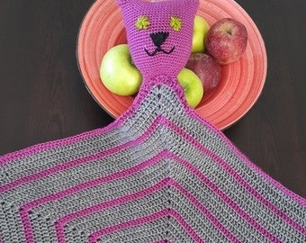 CAT Baby Sleeping friend Blanket,  Geometric Crochet Baby Blanket, Afghan,stroller / Gray and Purple Crochet Blanket