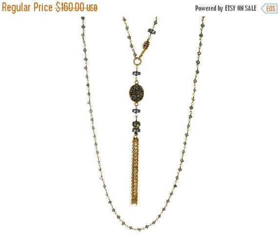 20% off. Deco. Indie Boho Gatsby Necklace. 1920's Flapper. LONG Druzy Tassel Necklace. 24k Gold Vermeil and Labradorite. NL-2213