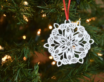 Snowflake #4 embroidered lace ornament
