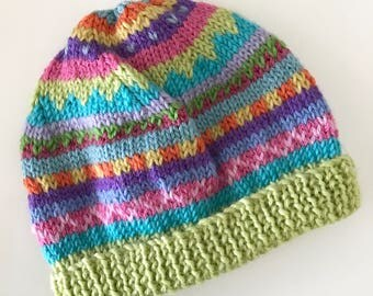Lime colourful beanie -  Hand knitted - to fit approx 6-12 months old