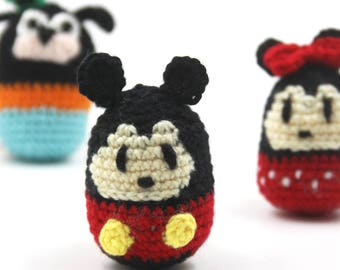 Little Cute Crochet Doll 4.5(W) x 7(H)cm, Mouse, Dog, Goofy,