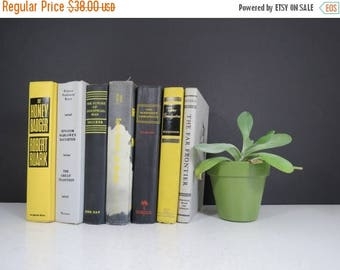 SPRING SALE Yellow and Black Book Set // Vintage Mid Century Retro Colorful Books Instant Collection Yellow Gray Black Bookshelf Fillers Off