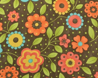 Moda Fabric, Cotton Quilting Fabric, Cotton Floral Fabric Remnant, Retro Fabric, Mod Flowers - 7/8 Yard - CFL1985