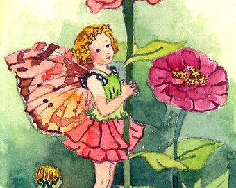 ACEO Limited Edition 2/25-Zinnia flower fairy inspired by Cicely Mary Barker,Flower fairy art print of original ACEO watercolor