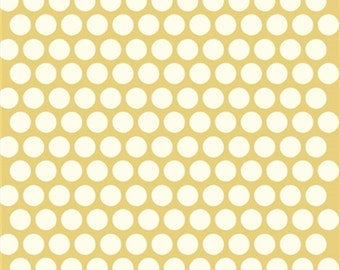 SALE! Yellow Polka dot fabric - Birch Organic Cotton Fabric - Dottie Cream - Sun - Mod Basics Poplin - Yellow and Cream Dots